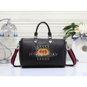 Gucci Trending Women Shopping Bag Leather Zipper Shoulder Bag Satchel Tote Handbag Black I-LLBPFSH