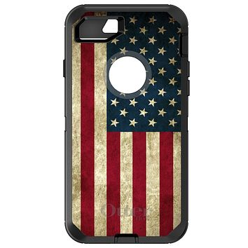 DistinctInk™ OtterBox Defender Series Case for Apple iPhone / Samsung Galaxy / Google Pixel - Red White Blue United States Flag Old