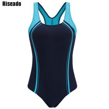 Riseado New 2018 Sport Swimming Suits for Women Competitive Swimwear One Piece Swimsuit Patchwork Racer Back Bathing Suits