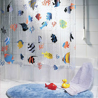 Free Shipping Hot sale cortinas  waterproof transparent PVC Underwater World Tropical Fish bathroom shower curtains Bath screens