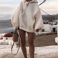 After The Party's Over Cream Long Lantern Sleeve Hooded Pullover Sweatshirt - Sold Out