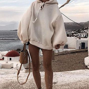 After The Party's Over Cream Long Lantern Sleeve Hooded Pullover Sweatshirt