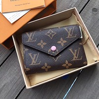 LV Louis Vuitton Stylish Monogram Pink Buckle Canvas Key Packet PU Small Coin Purse Wallet Key Pouch I High quality