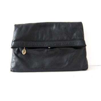 Vintage black leather clutch. Fold over leather bag. Slouchy large leather handbag. Leather purse.