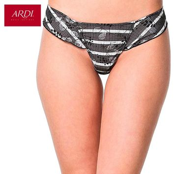 Women's G-String With Low Waist Satin With Jacquard Knitted Fabric