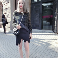 Open-work sweater/Crochet and knit/spring Oversize sweater extra lengthen slvve/simple casual style/black,gray,off-white