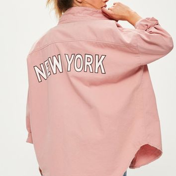 Missguided - Pink Slogan Back Oversized Denim Shirt