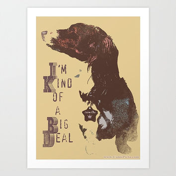 "Anchorman Dachshund ""I'm Kind of a Big Deal "" 8x10 Pop Art Print Movie Quote Brown Tan Beige Light Blue Wall Home Decor Dog Doxie"