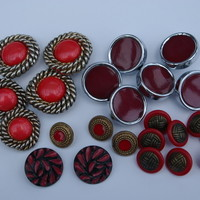 Buttons Twenty Four Mixed Vintage Red Buttons