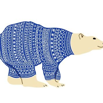 Colorful Contemporary Polar Bear in a Knit Sweater Hand Embroidery Pattern