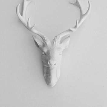 White Faux Taxidermy - Faux Deer Head - Faux Taxidermy - The Eloise - White Resin Deer Head- White Deer Antlers Mounted