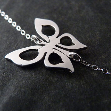 Sterling silver butterfly necklace, Butterfly jewelry, Sideways Necklace, Dainty Jewelry