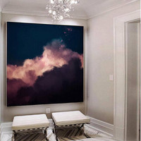 Cloud Painting, Extra Large Wall Art, Abstract Art, Large Abstract Painting, Navy Pink White Cloudscape Art by CORINNE MELANIE ART