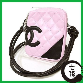 Auth CHANEL Cambon line Women leather Shoulder Bag