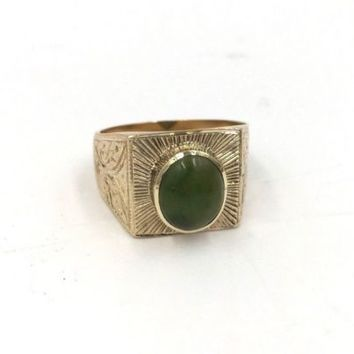 Vintage 14k Yellow Gold Jade Etched Men's ring