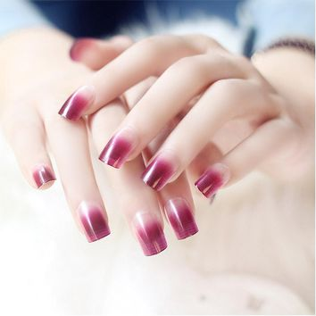Middle Long Gradient Color False Nails Square Head Full Cover Women Plastic Artificial Fake Nail Tips Rose Red Black