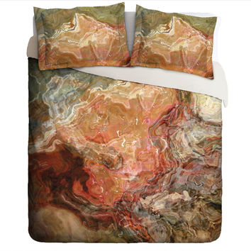 Duvet Cover with abstract art, king or queen in rust, brown and olive green, Firestarter