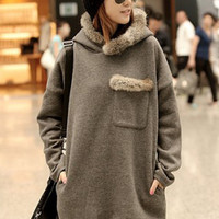 Fuzzy Side Pocket Gray Hairy Hooded Long Hoodies : Wholesaleclothing4u.com