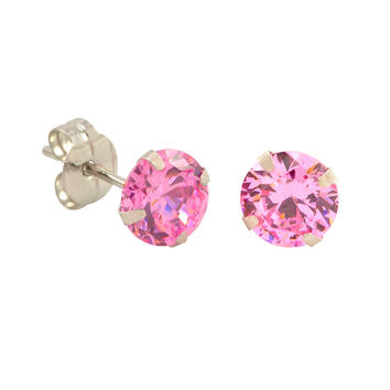 10k White Gold Pink Cubic Zirconia Stud Earrings Round CZ Prong Setting