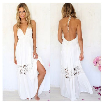Hot Sale Elegant Lace Backless Maxi Dress Dress Prom Dress [4919731716]