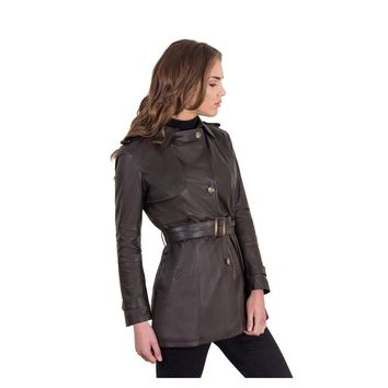 Dark Brown Leather Trench Coat