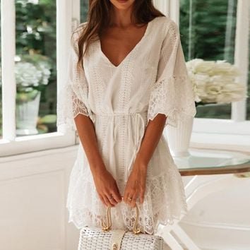 Boho White Mini Lace Dress Women Short Sleeve Embroidered Elegant V Neck A Line Sundress Bohemian Cotton Dress