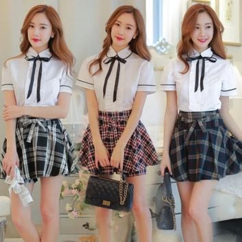 Korean students shirt + plaid skirt two-piece outfit