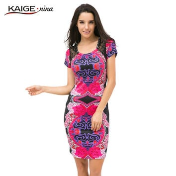 Kaige.Nina Autumn Sexy O-Neck Lace Dress Women Vestidos Casual Knee-length Dress Short Sleeve Print Plus Size Slim Dress 2409