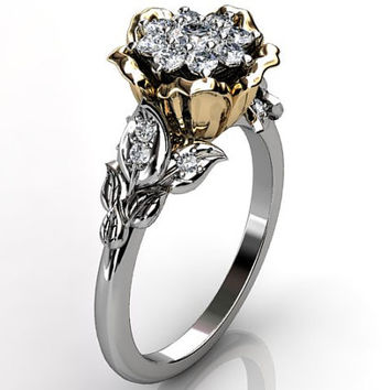 14k two tone white and yellow gold diamond unusual unique cluster floral engagement ring, bridal ring, wedding ring ER-1073-4