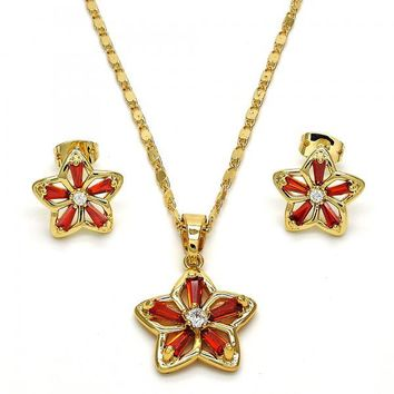 Gold Layered 10.210.0020 Necklace and Earring, Flower Design, with Garnet and White Cubic Zirconia, Polished Finish, Golden Tone