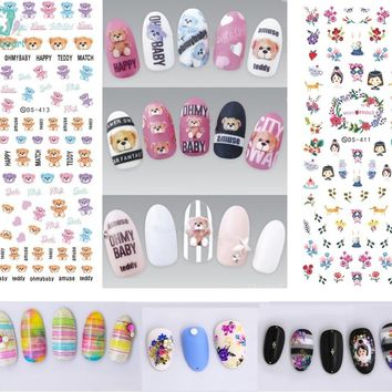 Rocooart DS409-418 2018 Summer Style Bear Flowers Water Transfer Nails Art Sticker Harajuku Nail Wrap Sticker Manicura stickers