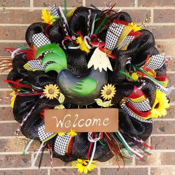 Deluxe Rooster Welcome Deco Mesh Wreath