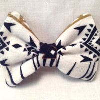 Tribal Hair Bow Clip in Black and White