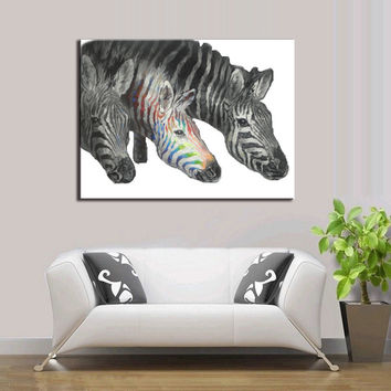 3 Zebras  on Canvas For Home Decor