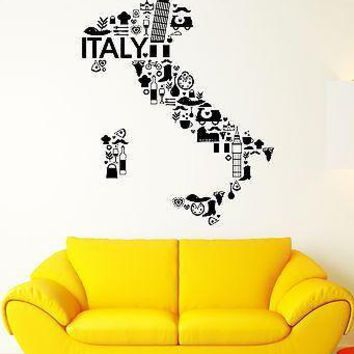 Wall Decal Italy Pizza Wine Pasta France Bicycle Grapes Vinyl Stickers Unique Gift (ed086)