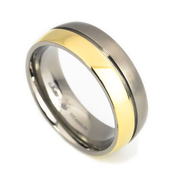 Titanium wedding band yellow Gold Plated for Men