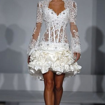 Long Sleeve Bolero Jacket See Through Short White Lace Cocktail Dress