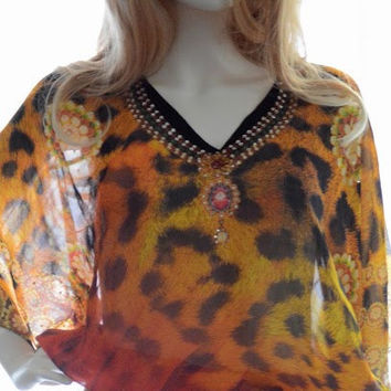 Amber Short caftan kaftan dress sheer dress beach cover up kaftan multicolor tunic dress