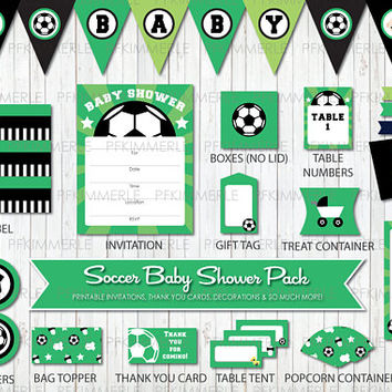 Soccer Themed Baby Shower, All Star, Sports, Printable Party Pack, Baby Shower Decorations, DIY Party, Green