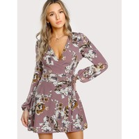 Brown Deep V-Neck Long Sleeve Floral Shift Dress
