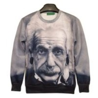 Galaxy Sweatshirts Funny Punk Einstein Sweaters Hoodies for Women Sweater (M)