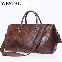 WESTAL Genuine Leather Bag Multifunction Shoulder Bags Men's Travel Bag Leather Travel Duffle Bag Leather Handbag Totes 8883