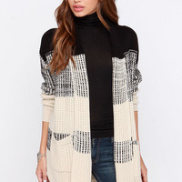 There and Back Again Black and Beige Sweater