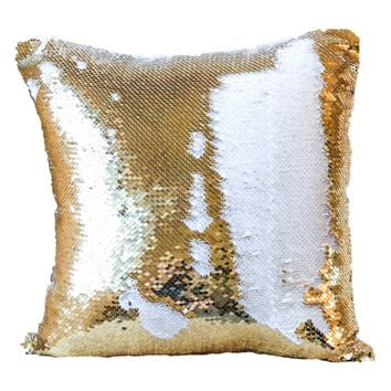 10-Pack Gold/White Sequin Pillow Covers (Satin Back) - COVER ONLY (Inserts Sold Separately)