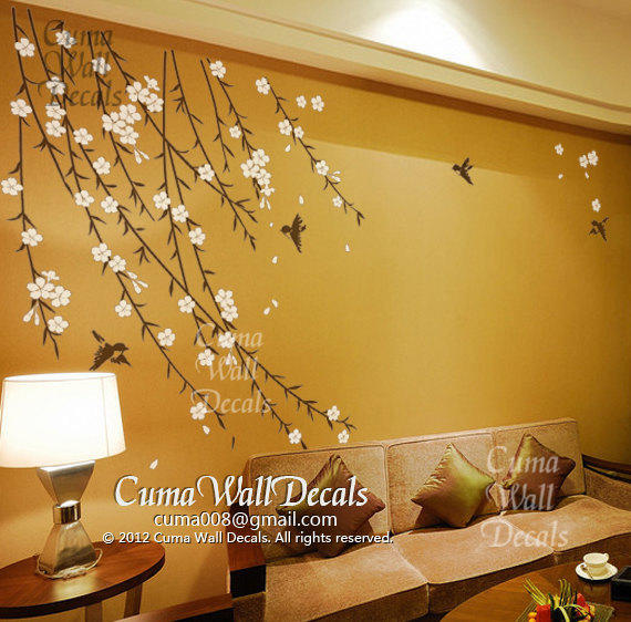 Shop Cherry Blossom Bird Wall Decal on Wanelo