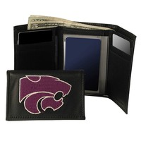 Kansas State University Wildcats Trifold Leather Wallet (Black)