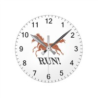 Horse running vector graphic art round clock