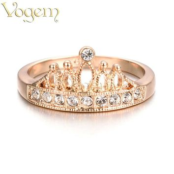 VOGEM Princess Crown Ring Rose Gold Silver Colors Romantic Queen Finger Rings For Women Engagement Jewelry