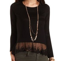 Mixed Media High-Low Top by Charlotte Russe
