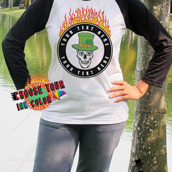 Design Your Own St Patricks Day T Shirt Personalized Team Shirts Custom Paddys Day Flaming Skull Baseball Shirt Unisex Your Text Here Tee